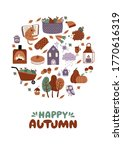 Happy Autumn Greeting Card Of...