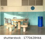 Small photo of Stone stools and tables at void deck for residents to mingle