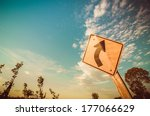 turn left symbol and sky in the ... | Shutterstock . vector #177066629
