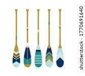 Painted Wooden Canoe Oar....