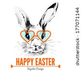 Hipster Easter Rabbit. Card...