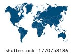 Blue World Map  Continents Of...
