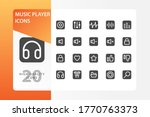 music player icon pack isolated ...