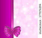 purple card template with bow  | Shutterstock . vector #177076394