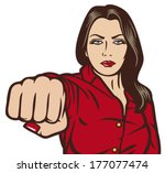 Pop Art Woman Punching