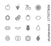 thin line icons for fruits.... | Shutterstock .eps vector #177077834