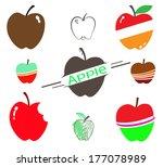 the set of apple on white... | Shutterstock .eps vector #177078989