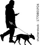 silhouette of woman and dog on... | Shutterstock .eps vector #1770801926