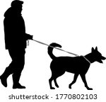 silhouette of man and dog on a... | Shutterstock .eps vector #1770802103