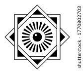 Art deco frame. Star of David template with eye in the center. Interlocking square and diamond, side of a square is infused with the sides of a rhombus. Vector monochrome illustration.