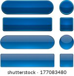 set of blank dark blue buttons... | Shutterstock .eps vector #177083480