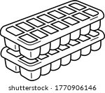 Ice Cube Trays. Vector Outline...