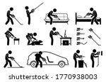 man using handheld cordless... | Shutterstock .eps vector #1770938003
