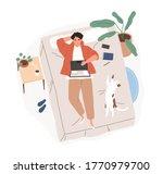 relaxed freelancer guy lying on ... | Shutterstock .eps vector #1770979700