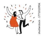 lovers are dancing happily ... | Shutterstock .eps vector #1771010906