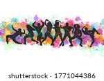 group happy dancing people...   Shutterstock . vector #1771044386