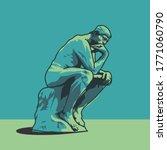 Thinking man statue illustration Auguste Rodin