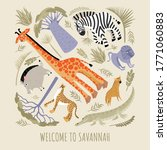welcome to the savannah. vector ... | Shutterstock .eps vector #1771060883