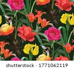 Floral Background With Irises  ...