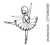 little ballerina stands on one...   Shutterstock .eps vector #1771082330