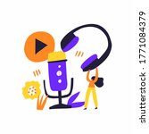 podcast show hand drawn flat...   Shutterstock .eps vector #1771084379