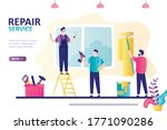 landing page on theme repair...   Shutterstock .eps vector #1771090286