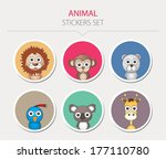 animal stickers. vector...