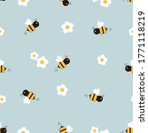 seamless pattern of flying bees ... | Shutterstock .eps vector #1771118219