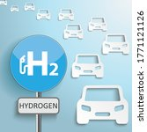 cover with cars and sign h2... | Shutterstock .eps vector #1771121126