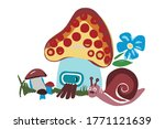 Cartoon Mushroom Like A House...