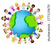 little child on planet earth ... | Shutterstock .eps vector #177115670