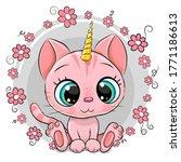 cute cartoon pink kitten... | Shutterstock .eps vector #1771186613