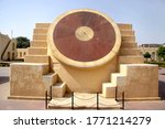 Small photo of Jaipur, India_2010. Jantar Mantar in an astronomic observation site. Jantar Mantar is UNESCO World Heritage site. Narivalaya Yantra which was then used to calculate time. Astronomical instrument.