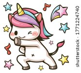 cute unicorn dancing with star... | Shutterstock .eps vector #1771224740