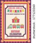 cute circus card design. vector ... | Shutterstock .eps vector #177123260