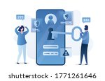 data protection  mobile with...   Shutterstock .eps vector #1771261646