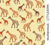 giraffe silhouettes random... | Shutterstock .eps vector #177133544