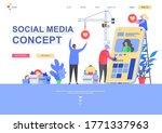 social media concept flat...