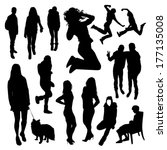 people silhouettes | Shutterstock .eps vector #177135008