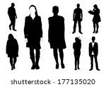 people silhouettes | Shutterstock .eps vector #177135020