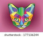 cat head geometric style   Shutterstock .eps vector #177136244