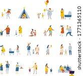 flat vector cartoon family....   Shutterstock .eps vector #1771365110