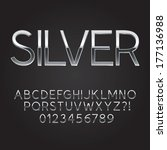 thin sliver steel font and... | Shutterstock .eps vector #177136988