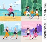 cartoon running workout. runner ... | Shutterstock . vector #1771437653
