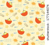 seamless boat pattern ... | Shutterstock .eps vector #177144074