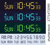 alarm clock lcd display font....   Shutterstock . vector #1771473590