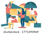 diverse people working on...   Shutterstock .eps vector #1771493969