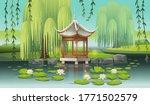 Chinese Gazebo On The Lake With ...