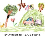 auto on outdoor. child drawing | Shutterstock . vector #177154046