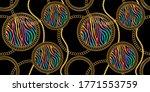 seamless golden baroque chains...   Shutterstock .eps vector #1771553759